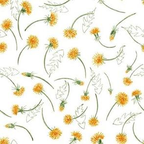 """Watercolor Golden Dandelions toss 8"""""""