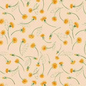 "Helen's Vintage Dandelions (almond ) 6"""