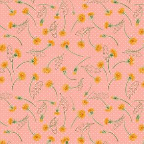 """Helen's Vintage Dandelions (peachy) 12"""""""