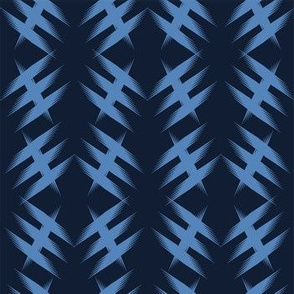 Modern indigo blue geometric hand drawn criss cross.