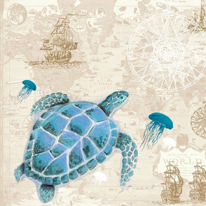 Turtle Map Fabric Beige