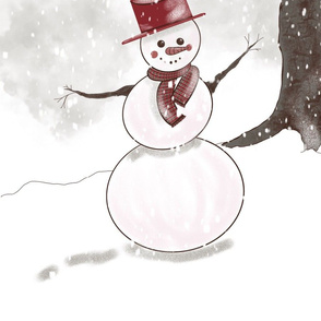 Sepia snowman pillow