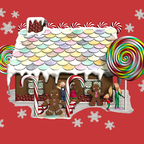 Gingerbread House on Red