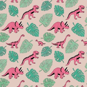 Dinosaur jungle botanical dino garden leaves girls pink and mint green SMALL
