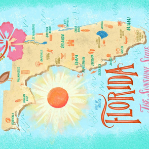 Florida is My Hometown // Sunshine State Tea Towel // Hibiscus, Pelican, Beach, Surfing, Sunshine, Lighthouse, Alligator, Florida Keys, Map, Vintage // Orlando, Miami, Pensacola, Daytona // ZirkusDesign