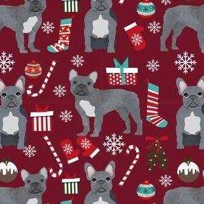 french bulldog christmas fabric - grey french bulldog, frenchie, dog fabric, christmas dog fabric, - ruby