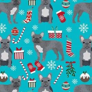 french bulldog christmas fabric - grey french bulldog, frenchie, dog fabric, christmas dog fabric, - turquoise