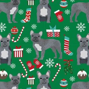 french bulldog christmas fabric - grey french bulldog, frenchie, dog fabric, christmas dog fabric, - green