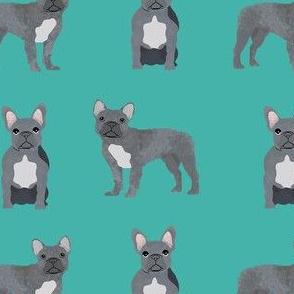 french bulldog fabric - grey french bulldog, frenchie, dog fabric, - turquoise