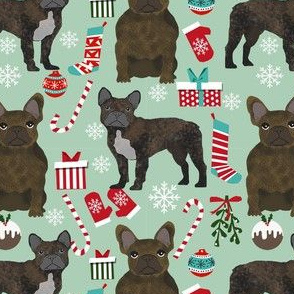 brindle frenchie christmas fabric - brindle french bulldog, brindle dog, french bulldog christmas, dog christmas - mint