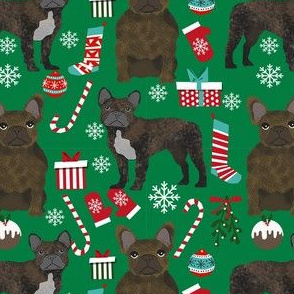 brindle frenchie christmas fabric - brindle french bulldog, brindle dog, french bulldog christmas, dog christmas - green