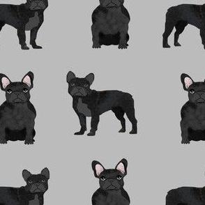 black frenchie fabric - black french bulldog, black dog, french bulldog fabric, frenchie fabric - grey