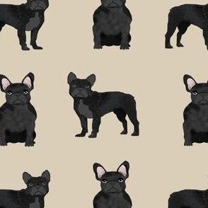 black frenchie fabric - black french bulldog, black dog, french bulldog fabric, frenchie fabric - tan