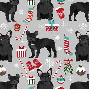 black frenchie christmas fabric - black french bulldog, black dog, french bulldog christmas, dog christmas -grey