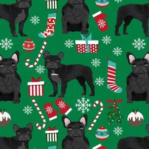 black frenchie christmas fabric - black french bulldog, black dog, french bulldog christmas, dog christmas -green