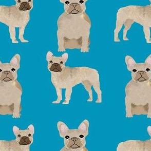 fawn frenchie fabric - fawn french bulldog, fawn dog, french bulldog fabric, frenchie fabric - blue
