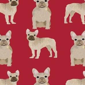 fawn frenchie fabric - fawn french bulldog, fawn dog, french bulldog fabric, frenchie fabric - red