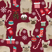 fawn frenchie christmas fabric - fawn french bulldog, black dog, french bulldog christmas, dog christmas - ruby