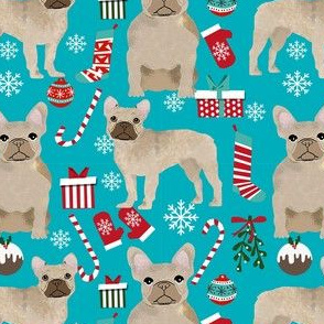 fawn frenchie christmas fabric - fawn french bulldog, black dog, french bulldog christmas, dog christmas -  teal