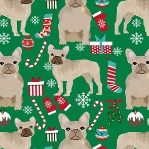 fawn frenchie christmas fabric - fawn french bulldog, black dog, french bulldog christmas, dog christmas - green