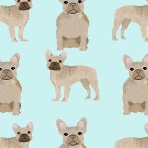 fawn frenchie fabric - fawn french bulldog, fawn dog, french bulldog fabric, frenchie fabric -  light aqua
