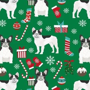 black and white frenchie christmas fabric - bw french bulldog, black dog, french bulldog christmas, dog christmas - green