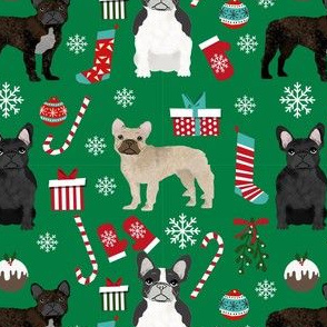 black and white frenchie christmas fabric - bw french bulldog, black dog, french bulldog christmas, dog christmas - mixed