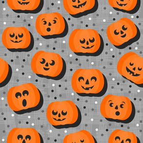 happy pumpkins on gray light large size