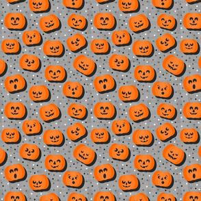 happy pumpkins on gray light  regular size