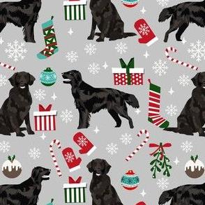 flat coated christmas fabric - dog christmas, christmas fabric, holiday fabric - grey