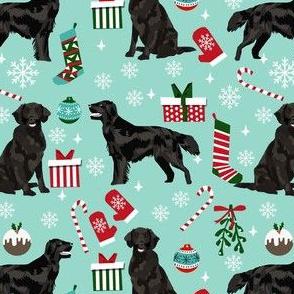 flat coated christmas fabric - dog christmas, christmas fabric, holiday fabric - light