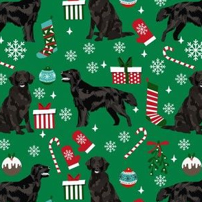 flat coated christmas fabric - dog christmas, christmas fabric, holiday fabric - green