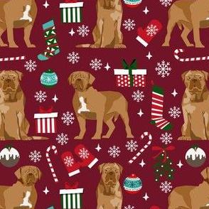french mastiff christmas fabric - dogue de bordeaux fabric, christmas dog fabric, holiday fabric - ruby