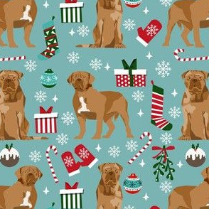 french mastiff christmas fabric - dogue de bordeaux fabric, christmas dog fabric, holiday fabric -blue