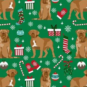 french mastiff christmas fabric - dogue de bordeaux fabric, christmas dog fabric, holiday fabric -green