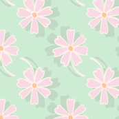 3-D Pink and Green Floral