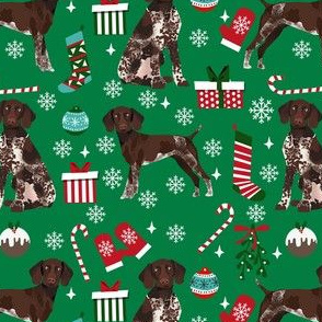 german shorthaired pointer christmas dog fabric, christmas dog, pointer dog, - green