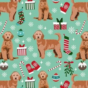 apricot golden doodle christmas fabric, apricot goldendoodle, doodle dog fabric, doodle christmas - light green