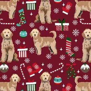 golden doodle christmas fabric, goldendoodle dog, christmas dog - ruby