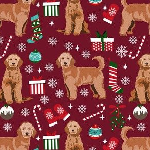 apricot golden doodle christmas fabric, apricot goldendoodle, doodle dog fabric, doodle christmas - ruby