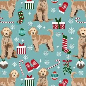 golden doodle christmas fabric, goldendoodle dog, christmas dog - blue