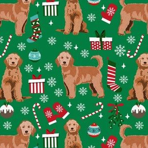 apricot golden doodle christmas fabric, apricot goldendoodle, doodle dog fabric, doodle christmas - green