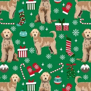 golden doodle christmas fabric, goldendoodle dog, christmas dog - green