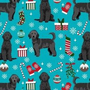 black goldendoodle dog christmas fabric, golden doodle fabric, doodle dog fabric - teal