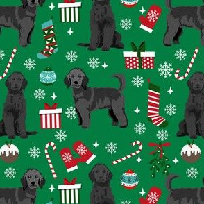black goldendoodle dog christmas fabric, golden doodle fabric, doodle dog fabric - green