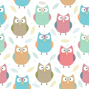 Funny colorful owls and leaves