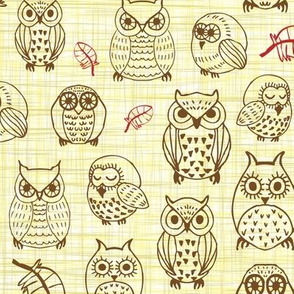 owls brown on yellow texture