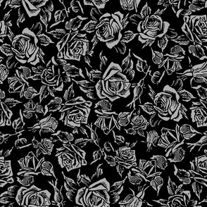 black rose bed grey roses