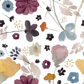 Watercolor Floral White Background
