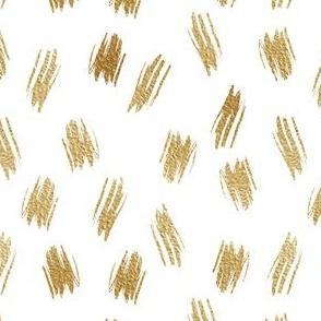 Golden paint strokes on white